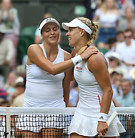Angelique Kerber (GER) and Tatjana Maria (GER) at the end of their Ladies' Singles First Round match<br /> <br /> Photographer Rob Newell/CameraSport<br /> <br /> Wimbledon Lawn Tennis Championships - Day 2 - Tuesday 2nd July 2019 -  All England Lawn Tennis and Croquet Club - Wimbledon - London - England<br /> <br /> World Copyright © 2019 CameraSport. All rights reserved. 43 Linden Ave. Countesthorpe. Leicester. England. LE8 5PG - Tel: +44 (0) 116 277 4147 - admin@camerasport.com - www.camerasport.com