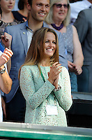OIC - ENTSIMAGES.COM -   Kim Sears watches Andy Murray of Great Britain celebrates his win in the Gentlemen's Singles Final match against Novak Djokovic of Serbia of the Wimbledon Lawn Tennis Championships at the All England Lawn Tennis and Croquet Club 7th July 2013     Photo Ents Images/OIC 0203 174 1069
