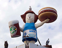 Mom Burger statue at Coney Island, New York.
