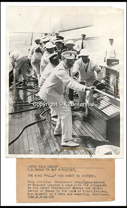 BNPS.co.uk (01202 558833)<br /> Pic: K1Britannia/BNPS<br /> <br /> ***Please Use Full Byline***<br /> <br /> H.R.H. King George V lends a helping hand onboard the Britannia. <br /> <br /> An 8 million pounds appeal has been launched to resurrect one of the most famous and best loved racing yachts of all time - the 'King's yacht' Britannia.<br /> <br /> The historic 177ft yacht was built for playboy prince Albert in 1893 and became an instant star of the sailing scene, winning 33 of 43 prestigious races  in her first year alone.<br /> <br /> The stunning Royal yacht became known the world over and enjoyed an illustrious racing career at the hands of Albert, who went on to become King Edward VII.<br /> <br /> Edward's son George V continued the love affair with Britannia, dubbed 'the King's yacht', so much so that on his death in 1936 she was deliberately sunk off the Isle of Wight.<br /> <br /> Now, 78 years on, campaigners are nearing the final stages of a project to complete an an inch-perfect replica of Britannia which has been 20 years in the making.<br /> <br /> The instantly recognisable hull is finished but around six million pounds is needed to transform it into a yacht worthy of Royalty. <br /> <br /> The yacht, which will cost an extra one million pounds a year to run, will then be taken all round the world so it can be enjoyed by charities and future generations.