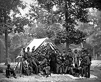 Engineer Camp, 8th New York State Militia.  Mathew Brady Collection. (Army)<br /> Exact Date Shot Unknown<br /> NARA FILE #:  111-B-499<br /> WAR &amp; CONFLICT BOOK #:  143