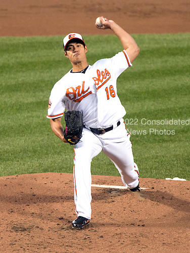 Baltimore Orioles pitcher Wei-Yin Chen (16) pitches in the second inning against the New York Yankees at Oriole Park at Camden Yards in Baltimore, MD on Tuesday, April 10, 2012..Credit: Ron Sachs / CNP.(RESTRICTION: NO New York or New Jersey Newspapers or newspapers within a 75 mile radius of New York City)