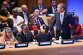 United States President Barack Obama takes his seat next to Rwandan President Paul Kagame and Bangladesh Prime Minister Sheikh Hasina (L) after delivering remarks during the Leaders' Summit on Peacekeeping during the 70th annual UN General Assembly at the UN headquarters September 28, 2015 in New York City. Obama held a bilateral meeting with Indian Prime Minister Narendra Modi and will have a face-to-face meeting with Russian President Vladimir Putin later in the day.<br /> Credit: Chip Somodevilla / Pool via CNP
