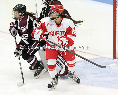 Jill Cardella (BU - 22), Mac Purvis (Union - 18) - The Boston University Terriers defeated the visiting Union College Dutchwomen 6-2 on Saturday, December 13, 2012, at Walter Brown Arena in Boston, Massachusetts.