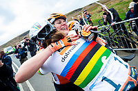 Picture by Alex Whitehead/SWpix.com - 04/05/2018 - Cycling - 2018 Asda Women's Tour de Yorkshire - Stage 1: Barnsley to Ilkley - Megan Guarnier of Boels Dolmans celebrates with Chantal Blaak after winning Stage 2 and the overall Asda Women's Tour de Yorkshire.