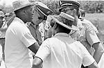 Dr. Robert Smith and Martin Luther King Jr consult with Officers of the Mississippi State Troopers, along route of 2nd Meredith March Against Fear through Mississippi photographed by Jim Peppler for essay published in The Southern Courier on June 25, 1966. Copyright Jim Peppler/1966. This and over 10,000 other images are part of the Jim Peppler Collection at The Alabama Department of Archives and History:  http://digital.archives.alabama.gov/cdm4/peppler.php
