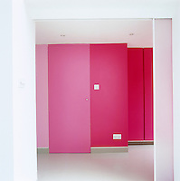 The door to the basement is concealed in a series of pink panels and floor-to-ceiling cupboards that line the wall