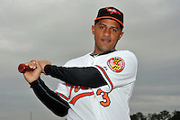 Feb 27, 2010; Tampa, FL, USA; Baltimore Orioles  infielder Cesar Izturis (3) during  photoday at Ed Smith Stadium. Mandatory Credit: Tomasso De Rosa/ Four Seam Images