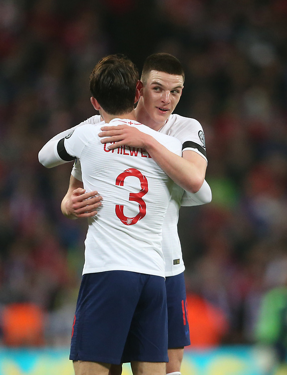 England's Declan Rice and Ben Chilwell at the end of the game<br /> <br /> Photographer Rob Newell/CameraSport<br /> <br /> UEFA Euro 2020 Qualifying round - Group A - England v Czech Republic - Friday 22nd March 2019 - Wembley Stadium - London<br /> <br /> World Copyright © 2019 CameraSport. All rights reserved. 43 Linden Ave. Countesthorpe. Leicester. England. LE8 5PG - Tel: +44 (0) 116 277 4147 - admin@camerasport.com - www.camerasport.com