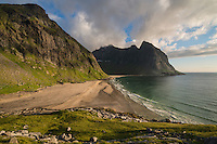 Summer light over Kvalvika beach, Moskenesøy, Lofoten Islands, Norway
