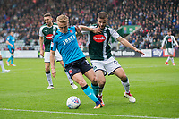 Kyle Dempsey of Fleetwood Town shields the ball from JamieNess of Plymouth Argyle during the Sky Bet League 1 match between Plymouth Argyle and Fleetwood Town at Home Park, Plymouth, England on 7 October 2017. Photo by Mark  Hawkins / PRiME Media Images.