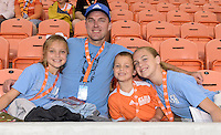 Houston Dash fans at the game against the Chicago Red Stars on Saturday, April 16, 2016 at BBVA Compass Stadium in Houston Texas.