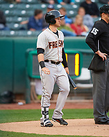 Preston Tucker (9) of the Fresno Grizzlies at bat against the Salt Lake Bees in Pacific Coast League action at Smith's Ballpark on April 17, 2017 in Salt Lake City, Utah. The Bees defeated the Grizzlies 6-2. (Stephen Smith/Four Seam Images)