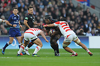 Maro Itoje of England is tackled by Masakatsu Nishikawa of Japan during the Quilter International match between England and Japan at Twickenham Stadium on Saturday 17th November 2018 (Photo by Rob Munro/Stewart Communications)
