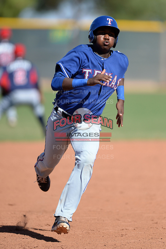 Texas Rangers third baseman Juremi Profar (21) running the bases during an Instructional League game against the Cleveland Indians on October 4, 2013 at Surprise Stadium Training Complex in Surprise, Arizona.  (Mike Janes/Four Seam Images)