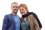 """15. 01.2019, Hotel im Wasserturm, Kaygasse 2, Koeln,  GER, Pressefototermin ZDF 25. Film Krimireihe Marie Brand, """"und das Spiel mit dem Glueck"""", <br /> <br /> im Bild / picture shows: <br /> Mariele Millowitsch Schauspielerin und Hauptdarstellerin in der Serie """"Marie Brand"""", Hinnerk Schönemann / Schoenemann Schauspieler und Assistent von Marie Brand, auf dem Dach des Hotels.. <br /> <br /> Foto © nordphoto / Meuter"""