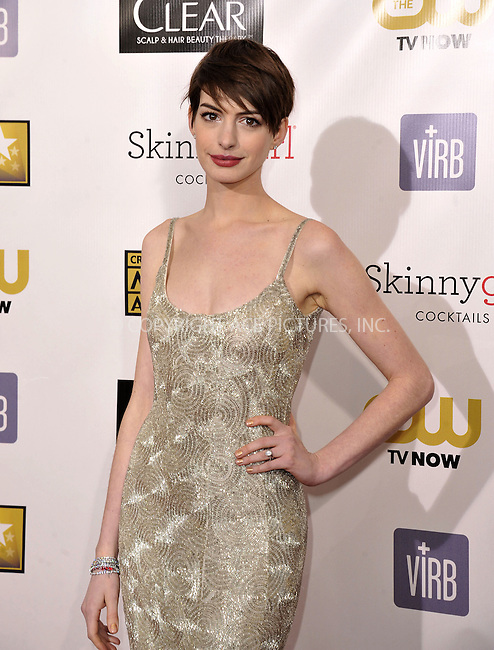 WWW.ACEPIXS.COM......January 10, 2013, Santa Monica, CA.....Anne Hathaway arriving at the 18th Annual Critics' Choice Movie Awards at Barker Hangar on January 10, 2013 in Santa Monica, California. ..........By Line: Peter West/ACE Pictures....ACE Pictures, Inc..Tel: 646 769 0430..Email: info@acepixs.com