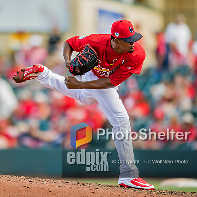 28 February 2019: St. Louis Cardinals top prospect pitcher Genesis Cabrera on the mound during a Spring Training game against the New York Mets at Roger Dean Stadium in Jupiter, Florida. The Mets defeated the Cardinals 3-2 in Grapefruit League play. Mandatory Credit: Ed Wolfstein Photo *** RAW (NEF) Image File Available ***