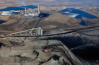 aerial photograph Westmoreland Coal Company Kemmerer Mine with Naughton Power Plant, Kemmerer, Wyoming