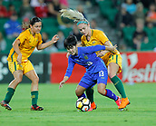 26th March 2018, nib Stadium, Perth, Australia; Womens International football friendly, Australia Women versus Thailand Women; Orata Srimanee of Thailand controls the ball and shields from Ellie Carpenter of the Matildas