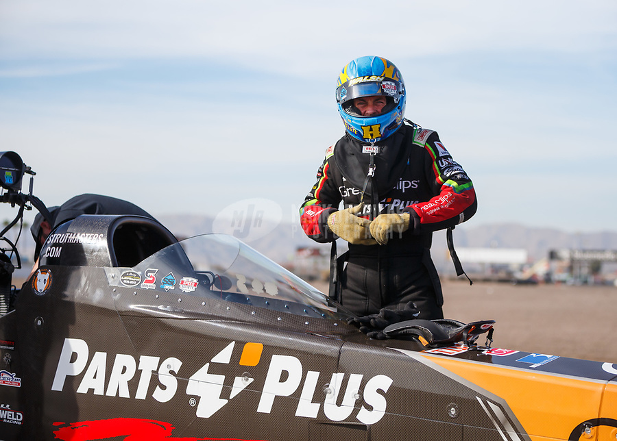 Feb 2, 2018; Chandler, AZ, USA; NHRA top fuel driver Clay Millican during Nitro Spring Training pre season testing at Wild Horse Pass Motorsports Park. Mandatory Credit: Mark J. Rebilas-USA TODAY Sports