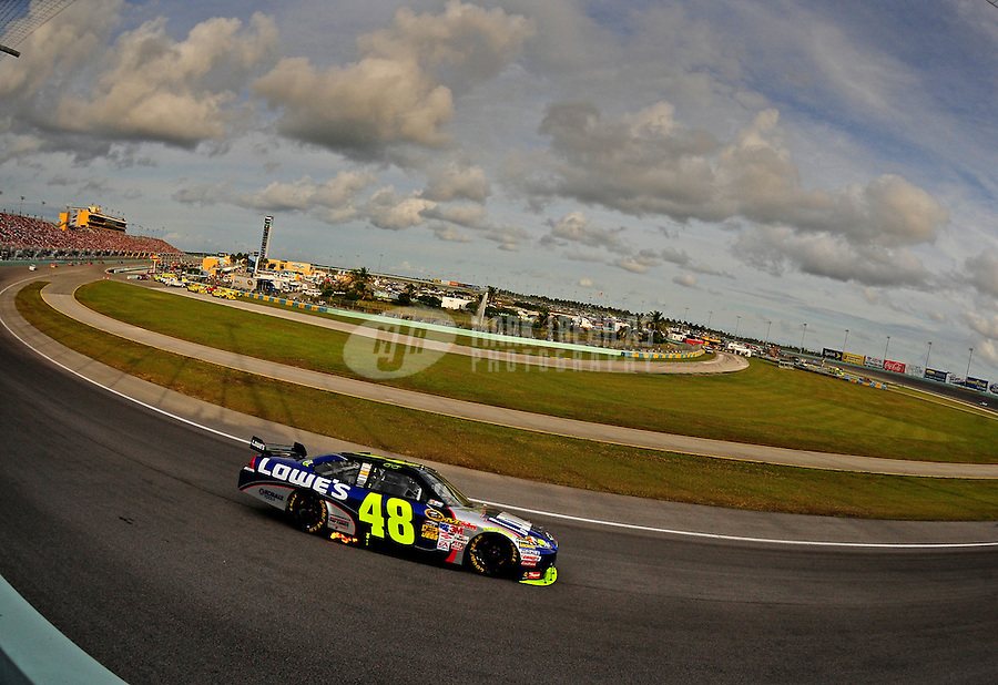 Nov. 22, 2009; Homestead, FL, USA; NASCAR Sprint Cup Series driver Jimmie Johnson (48) during the Ford 400 at Homestead Miami Speedway. Mandatory Credit: Mark J. Rebilas-