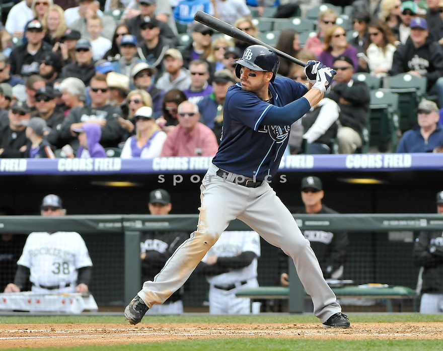 Tampa Bay Rays Matt Joyce (20) during a game against the Colorado Rockies on May 5, 2013 at Coors Field in Denver, CO. The Rays beat the Rockies 8-3.