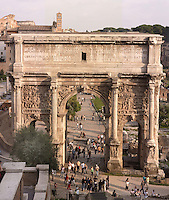 Arch of Septimus Severus erected in 203 AD in memory of the glorious victories of the Mesopotamian campaigns, The Roman Forum, Rome, Italy, Europe.