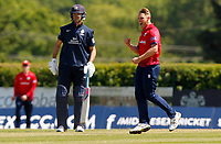 Jamie Porter of Essex celebrates taking the wicket of Tom Helm (caught Wheater) during Middlesex vs Essex Eagles, Royal London One-Day Cup Cricket at Radlett Cricket Club on 17th May 2018