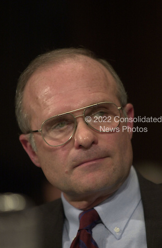 Roger Adams, Pardon Attorney, United States Department of Justice, testifies before the U.S. Senate Judiciary Committee on the Marc Rich pardon on February 14, 2001 in Washington, D.C..Credit: Ron Sachs / CNP