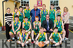 St Patricks College Castleisland bastketballers who won the first year A All Ireland schools final on Sunday front row l-r: David Dillon, Conor Casey, aaron O'Connell. Middle row: Padraig Fleming, Daniel Kelly, Gary O'Sullivan, Denis 'Donovan Principal, Tadhg O'Shea. Back row: Kalie O'Connor, Darren O'Donovan, Aaron Fleming, Donal Geaney, Denis Porter Coach, Jonathan Healy, Keith Deniel, Eoin Culloty and Joanne Casey
