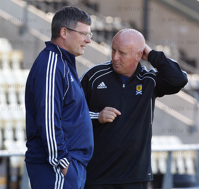 Craig Levein and assistant Peter Houston watch Scotland training