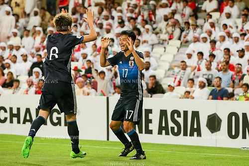 Yasuyuki Konno (JPN), MARCH 23, 2017 - Football / Soccer : Yasuyuki Konno of Japan celebrates with Genki Haraguchi as he scores a goal to make it 0-2 during the FIFA World Cup Russia 2018 Asian Qualifier Group B match between United Arab Emirates and Japan at Hazza Bin Zayed Stadium in Al Ain, United Arab Emirates. (Photo by AFLO)