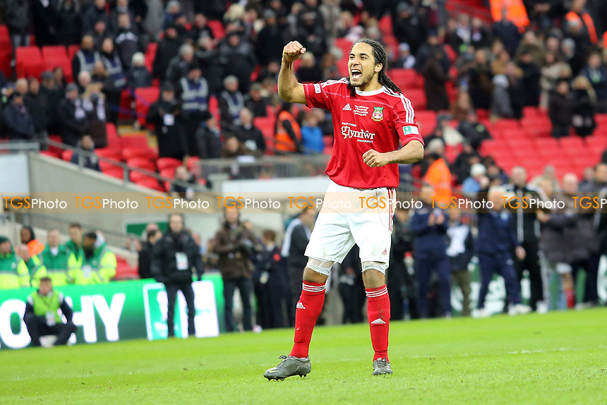 Wrexham's Chris Westwood celebrates after scoring from the penalty spot - Wrexham vs Grimsby Town - FA Challenge Trophy Final at Wembley Stadium, London - 24/03/13 - MANDATORY CREDIT: Gavin Ellis/TGSPHOTO - Self billing applies where appropriate - 0845 094 6026 - contact@tgsphoto.co.uk - NO UNPAID USE.