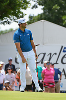 Jon Rahm (ESP) reacts to barely missing his birdie putt on 9 during round 1 of the 2019 Charles Schwab Challenge, Colonial Country Club, Ft. Worth, Texas,  USA. 5/23/2019.<br /> Picture: Golffile | Ken Murray<br /> <br /> All photo usage must carry mandatory copyright credit (© Golffile | Ken Murray)