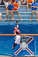 June 12, 2011:   Mississippi State Bulldogs outfielder Brent Brownlee (42) climbs the left field wall in an attempt to catch the home run ball hit by Florida Gators inf/of Vickash Ramjit (30) (not pictured) during NCAA Gainesville Super Regional Game 3 action between Florida Gators and Mississippi State Bulldogs played at Alfred A. McKethan Stadium on the campus of Florida University in Gainesville, Florida.  Florida defeated Mississippi State 8-6 to advance to the College World Series in Omaha, Nebraska........