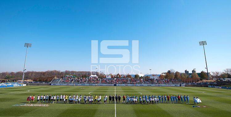 The team line up on the field before the game at the Maryland SoccerPlex in Germantown, MD. Maryland defeated North Carolina, 2-1,  to win the ACC men's soccer tournament.