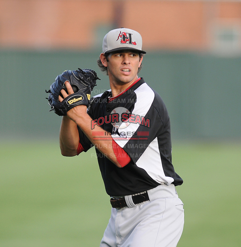 Starting pitcher Nick Martinez of the Hickory Crawdads before a game against the Greenville Drive on Sunday, September 2, 2012, at Fluor Field at the West End in Greenville, South Carolina. Hickory won, 8-4. (Tom Priddy/Four Seam Images)