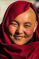 Buddhist nun in Choglamsar in the Leh Valley, Ladakh, Jammu and Kashmir State, India.
