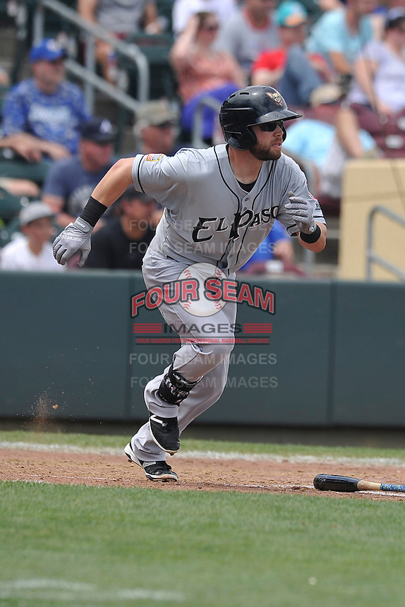 El Paso Chihuahuas Ryan Schimpf (3) runs to first base during the game against the Omaha Storm Chasers at Werner Park on May 30, 2016 in Omaha, Nebraska.  El Paso won 12-0.  (Dennis Hubbard/Four Seam Images)