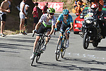Benjamin King (USA) Team Dimension Data and Nikita Stalnov (KAZ) Astana Pro Team from the breakaway group climb Sierra de la Alfaguara at the end of Stage 4 of the La Vuelta 2018, running 162km from Velez-Malaga to Alfacar, Sierra de la Alfaguara, Andalucia, Spain. 28th August 2018.<br /> Picture: Colin Flockton | Cyclefile<br /> <br /> <br /> All photos usage must carry mandatory copyright credit (&copy; Cyclefile | Colin Flockton)