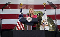 In this photo released by the National Aeronautics and Space Administration (NASA) NASA Kennedy Space Center (KSC) Deputy Director Janet Petro welcomes guests and introduces KSC Director, Robert Cabana, Thursday, July 6, 2017, at the Vehicle Assembly Building at KSC in Cape Canaveral, Florida. Vice President Mike Pence is also scheduled to speak at the event to highlight innovations made in America and tour some of the public/private partnership work that is helping to transform the center into a multi-user spaceport. Photo Credit: Aubrey Gemignani/NASA/CNP/AdMedia