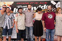 24.07.2012. Presentation at the Madrid Film Academy of the movie 'Impavido&acute;, directed by Carlos Theron and starring by Marta Torne, Selu Nieto, Nacho Vidal, Carolina Bona, Julian Villagran and Manolo Solo. In the image Nacho Vidal, Selu Nieto, Manolo Solo, Julian Villagran, Marta Torne,  Carlos Theron and Carolina Bona (Alterphotos/Marta Gonzalez) /NortePhoto.com*<br />