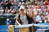 June 16th 2017, Nottingham, England;WTA Aegon Nottingham Open Tennis Tournament day 7;  Ashleigh Barty of Australia waves to the crowd after her defeat against Johanna Konta of Great Britain; Konta won 6-3, 7-5 to reach the semi finals
