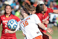 Virginia's Emily Sonnett (16) collides with Maryland Natasha Ntone-Kouo (18) during the first round of the ACC Tournament Sunday at Klockner Stadium.  Virginia defeated Maryland 6-1. Photo/The Daily Progress/Andrew Shurtleff