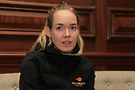 Anna Van Der Breggan (NED) at the Boels-Dolmans press conference during the Men U23 Road Race of the UCI World Championships 2019 running 186.9km from Doncaster to Harrogate, England. 26th September 2019.<br /> Picture: Eoin Clarke | Cyclefile<br /> <br /> All photos usage must carry mandatory copyright credit (© Cyclefile | Eoin Clarke)