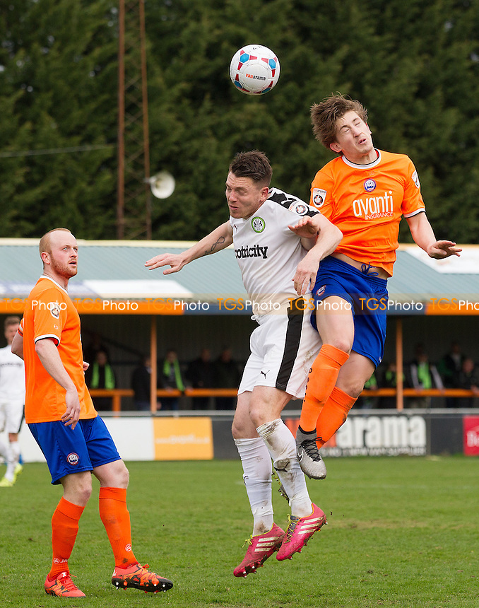 Alex Woodyard of Braintree Town wins aerial ball during Braintree Town vs Forest Green Rovers, Vanarama National League Football at the Avanti Stadium on 9th April 2016