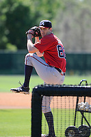 Pitcher Stephen Janas (82) of the Atlanta Braves farm system in a Minor League Spring Training workout on Monday, March 16, 2015, at the ESPN Wide World of Sports Complex in Lake Buena Vista, Florida. (Tom Priddy/Four Seam Images)