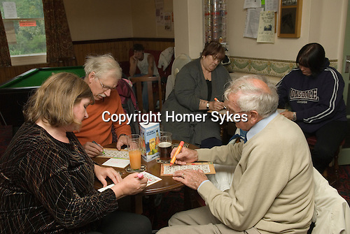 The Bricklayers Arms near Boston Wednesday evening auction and Bingo night. The Fens. Lincolnshire. UK 2008.