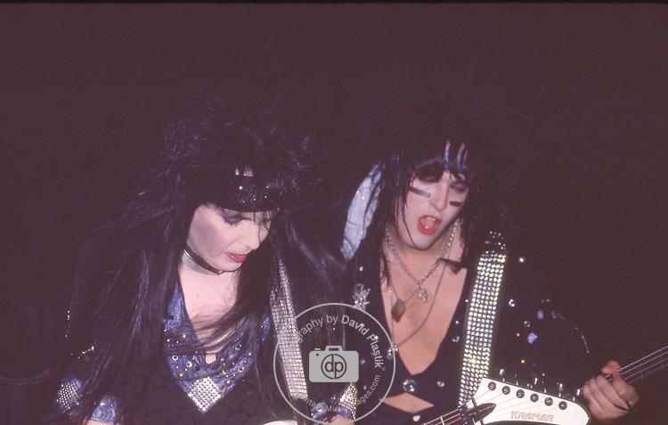 Nikki Sixx & Mick Mars of Motley Crue at Madison Square Garden Aug 1985.
